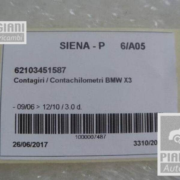 Contagiri / Contachilometri   BMW X3